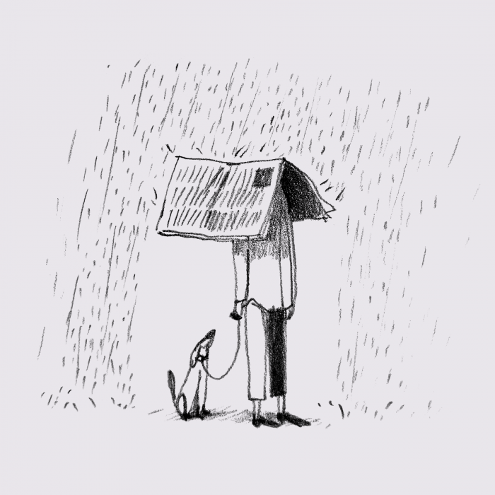 illustration of a man and his dog in the rain, covering with a newspaper