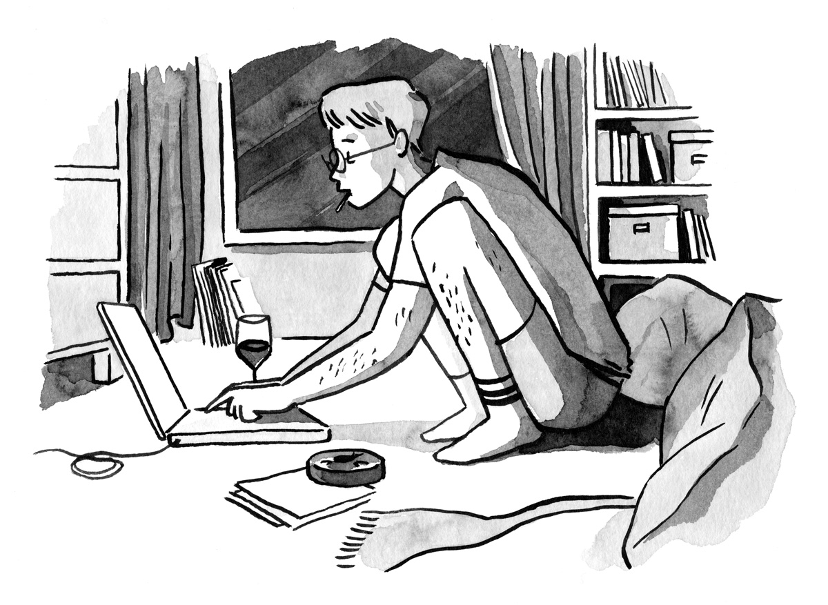 ink painting of a guy writing with his laptop