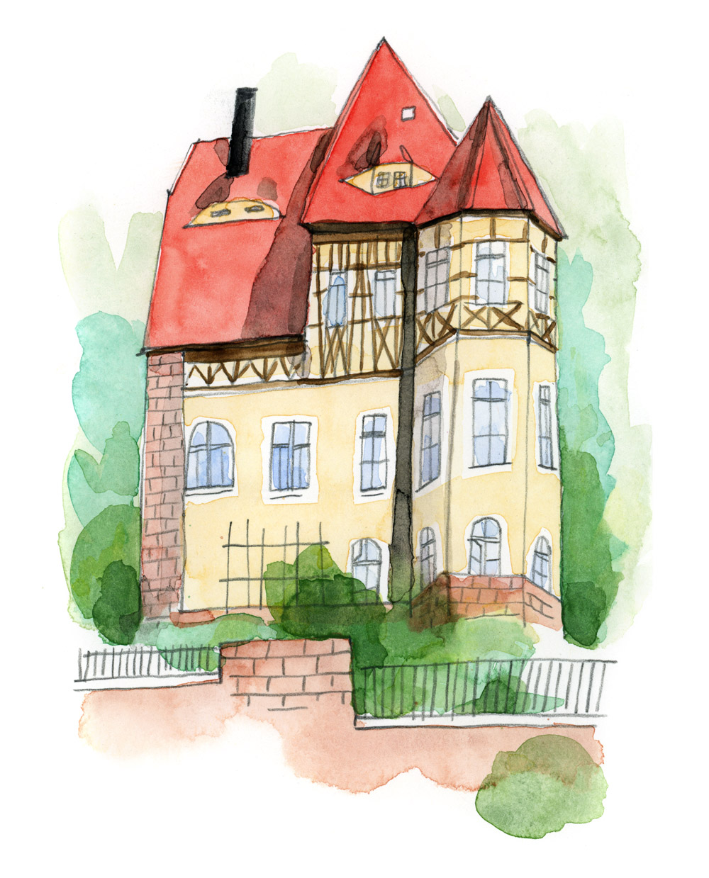 watercolor drawing of a house