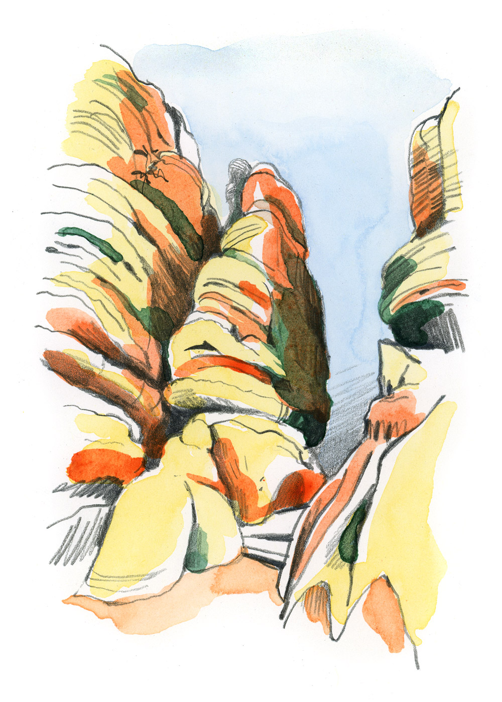 watercolor drawing of rocks