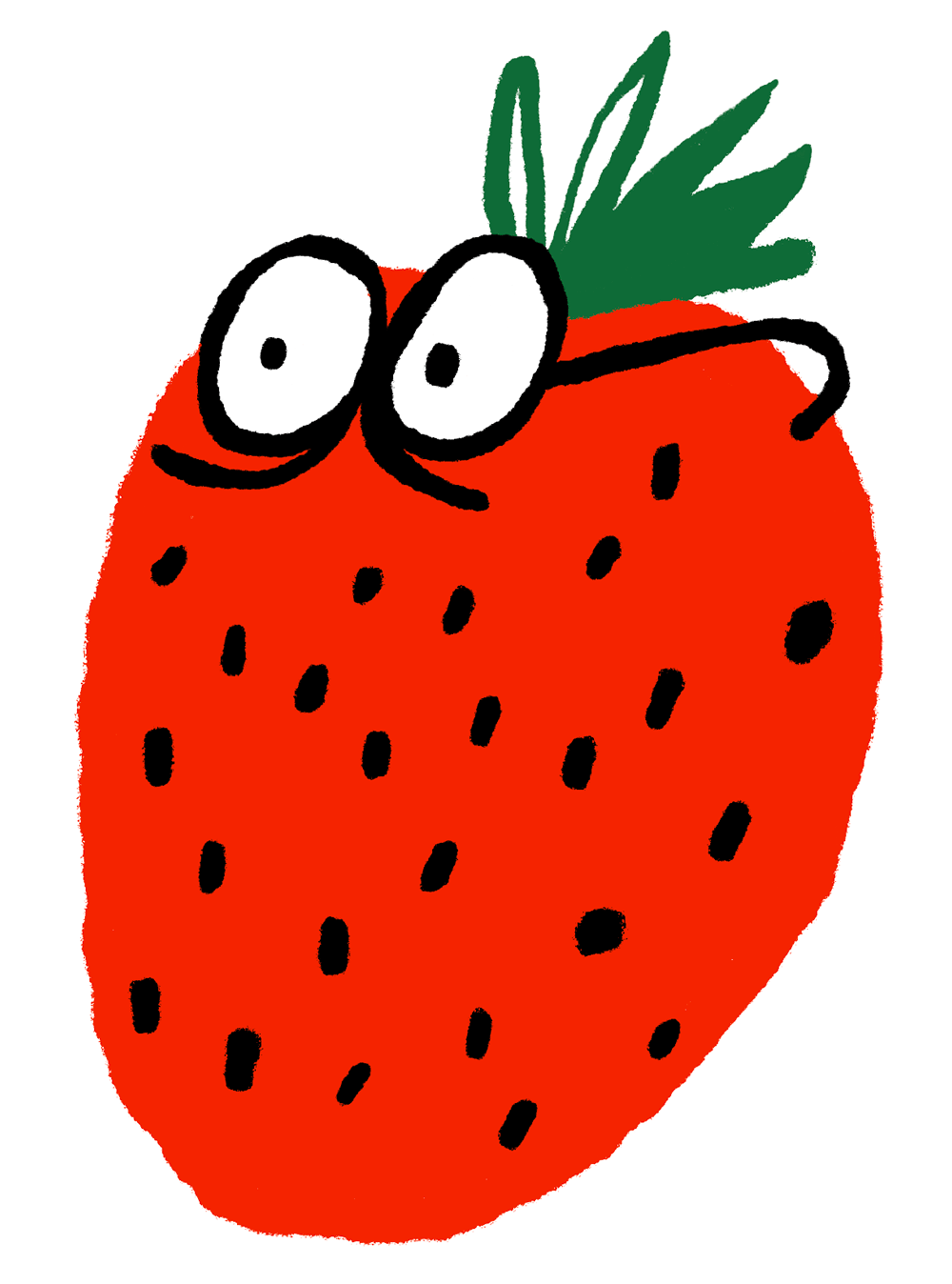 illustration of a strawberry with eyes