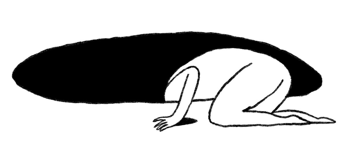 Person, die sich in ein schwarzes Loch beugt
