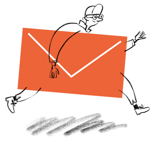 illustration of person with envelope